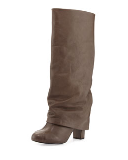 See by Chloe Cuffed Leather Knee Boot, Natural