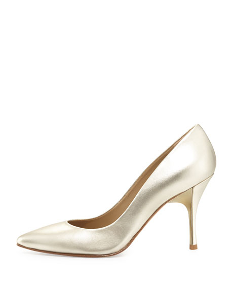 Brave Metallic Leather Pump, Platino