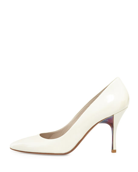 Brave Patent Leather Pump, White