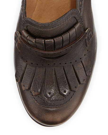 Naiya Leather Loafer Pump, Dark Brown