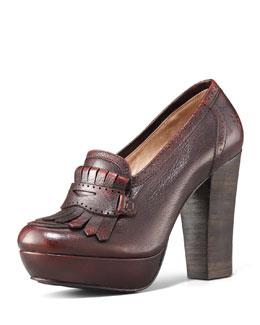 Frye Naiya Leather Loafer Pump, Dark Brown