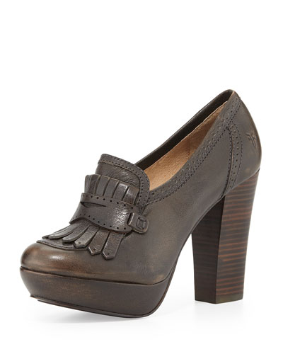 Frye Naiya Leather Loafer Pump, Smoke