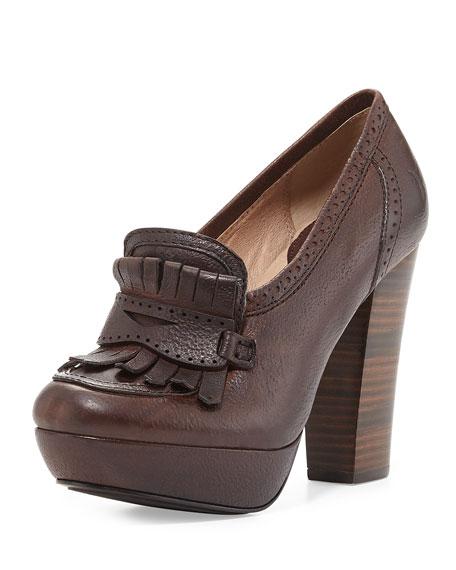 Naiya Leather Loafer Pump, Dark Brown