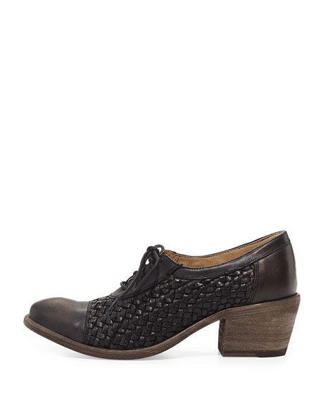 Maggie Woven Leather Oxford, Black