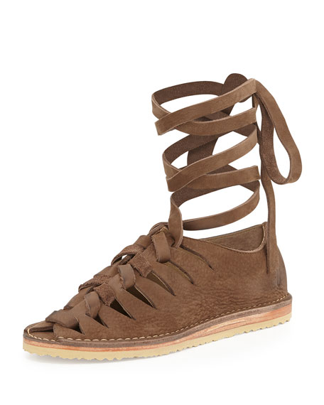 Holly Nubuck Gladiator Flat, Dark Brown