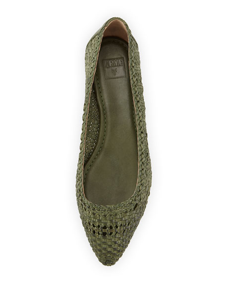Regina Woven Leather Ballet Flat, Green