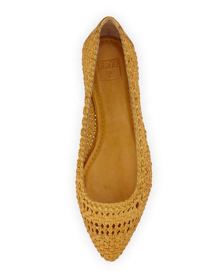 Regina Woven Leather Ballet Flat, Yellow
