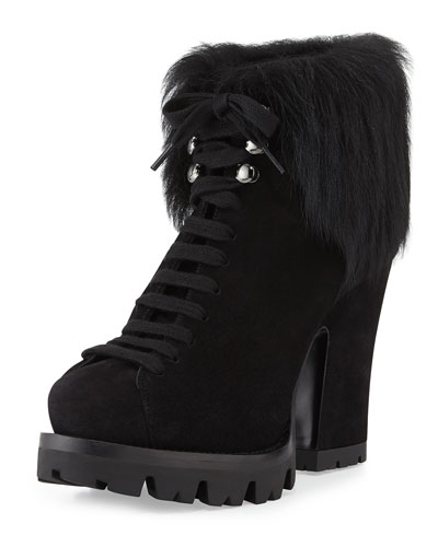 Prada Fur-Trim Suede Lace-Up Ankle Boot