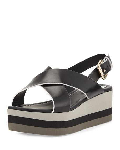 Crisscross Flatform Sandal, Nero/Bianco