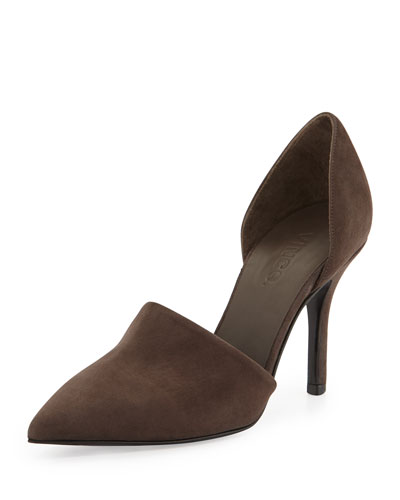 Vince Claire Two-Piece Suede Pump, Umber