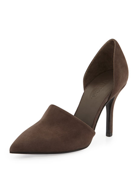 Claire Two-Piece Suede Pump, Umber