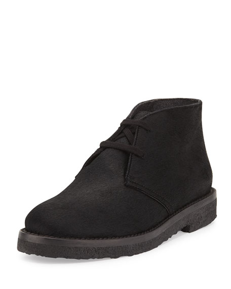 Clay Calf Hair Chukka Boot, Black