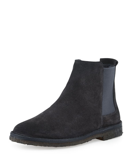 Cody Shearling-Lined Suede Chelsea Boot, Charcoal