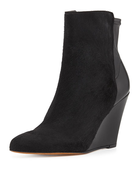 Vince Lanie Calf Hair Wedge Boot, Black