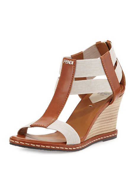 Fendi Leather Banded-Strap Wedge Sandal, Cuoio Latte