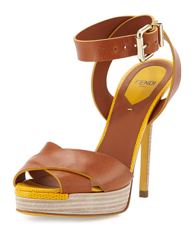 Crisscross Ankle-Wrap Sandal, Cuoio/Sunflower