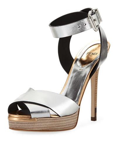 Metallic Crisscross Ankle-Wrap Sandal, Argento