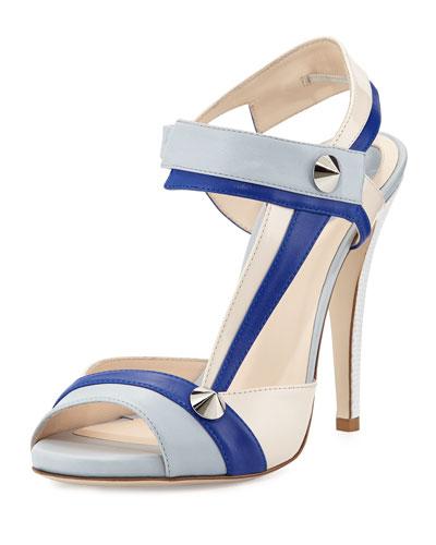 Asymmetric Leather Stud Sandal, Blue