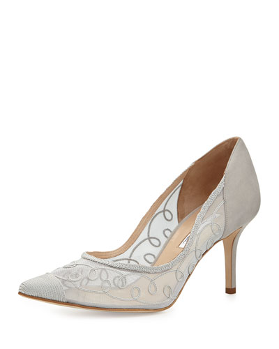 Arthas Pointy Suede Mesh Pump, Gray