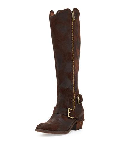 Donald J Pliner Dela Vintage Suede Side-Zip Boot, Espresso