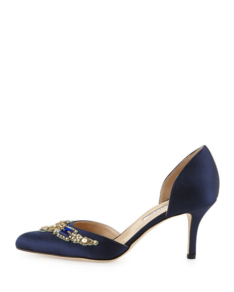 Binatomod Satin Embellished d'Orsay Pump, Navy