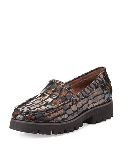 Donald J Pliner Rio Croc-Print Patent Loafer
