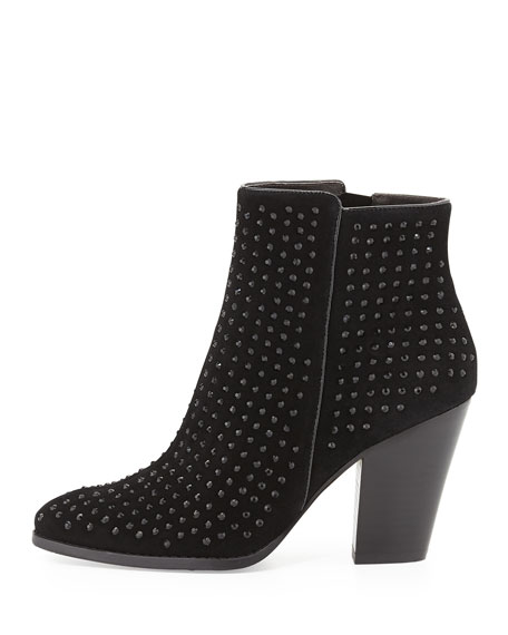 Swift Crystal-Embellished Suede Bootie, Black