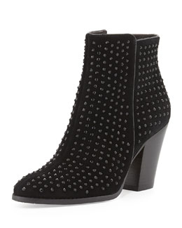 Donald J Pliner Swift Crystal-Embellished Suede Bootie, Black