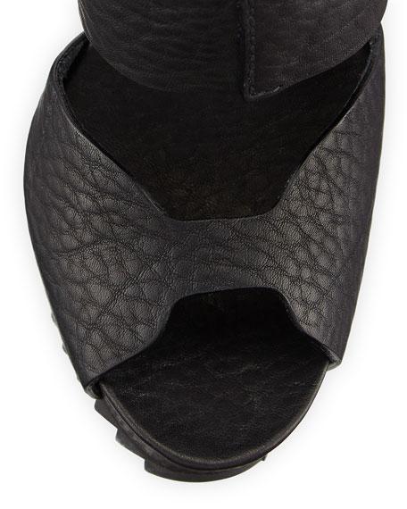 Pedro Garcia Pansy Leather Up-Front Platform Sandal, Black