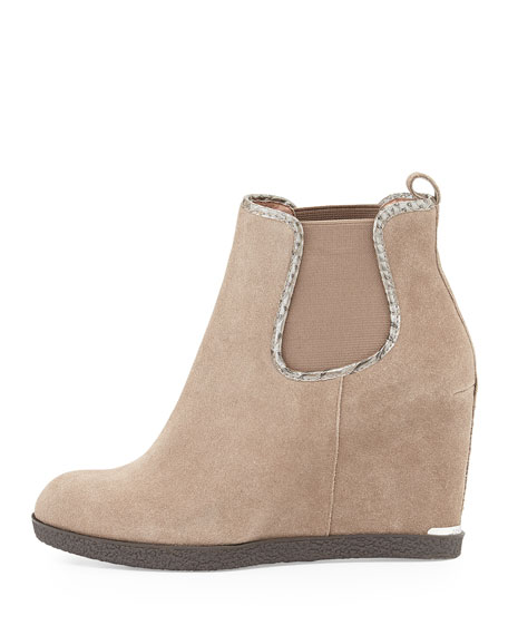 Dillion Suede Wedge Ankle Bootie, Taupe
