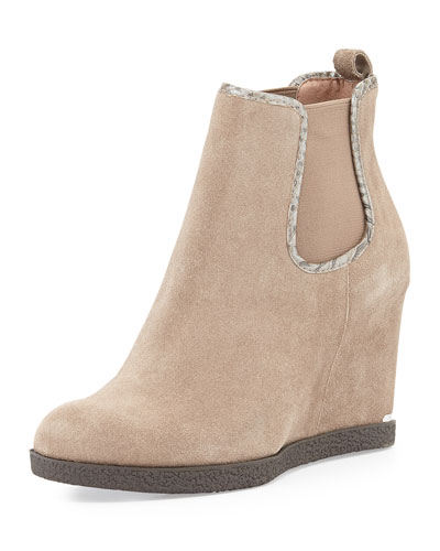 Donald J Pliner Dillion Suede Wedge Ankle Bootie, Taupe
