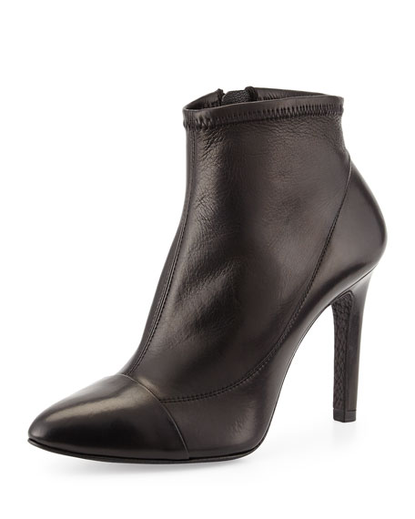 Roberta Leather Ankle Bootie, Black