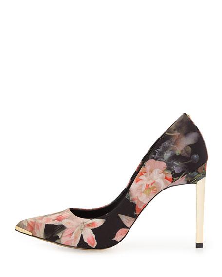 Opulent Bloom-Print Satin Pump