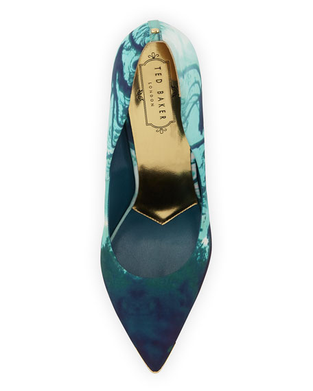 Reflective Landscape-Print Satin Pump, Blue