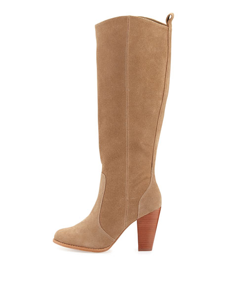 Dagny Suede Knee Boot, Cement