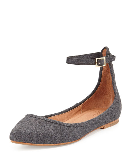 Temple Flannel Ankle-Strap Flat