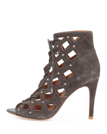 Cayla Studded Suede Cage Bootie, Slate