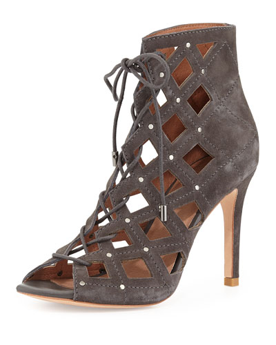 Joie Cayla Studded Suede Cage Bootie, Slate