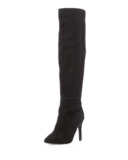 Joie Olivia Over-The-Knee Pointy Suede Boot, Black
