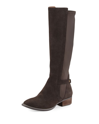 Piment Suede Boot with Stretch Back, Espresso