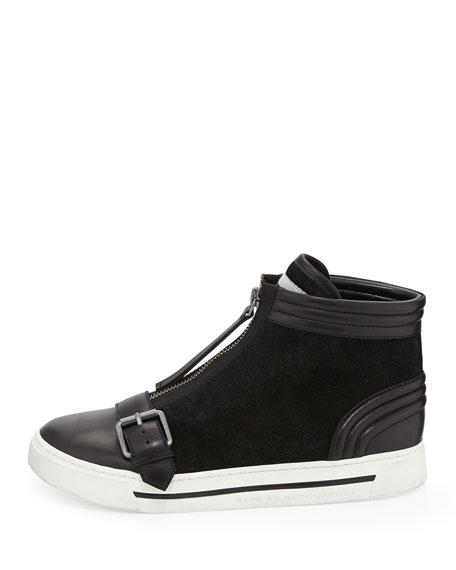 Zip-Front High-Top Sneaker, Black