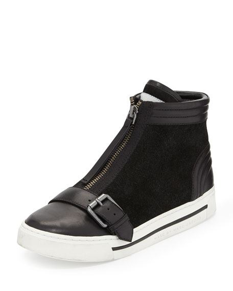 Zip-Front High-Top Sneaker, Black