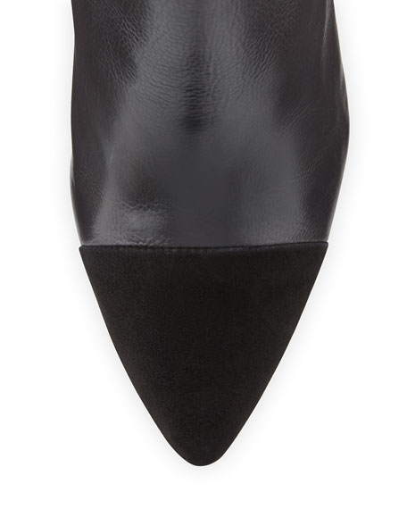 Rivington Leather Cap-Toe Bootie, Black