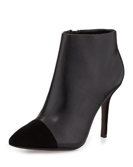 Tory Burch Rivington Leather Cap-Toe Bootie, Black