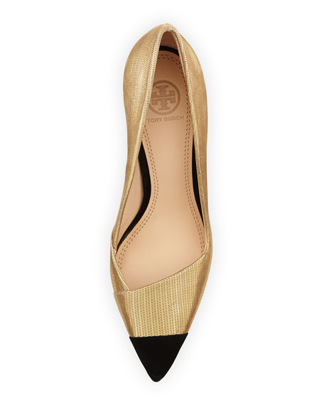 Shaila Metallic Cap-Toe Pump, Gold