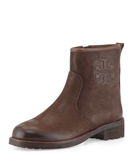 Simone Leather Logo Bootie, Chocolate