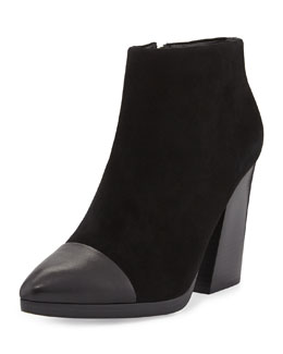 Tory Burch Rivington Suede Cap-Toe Ankle Boot, Black