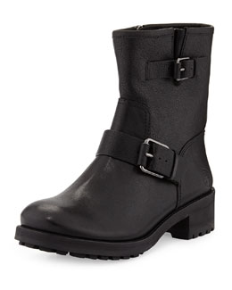 Tory Burch Chrystie Leather Double-Buckle Boot, Black
