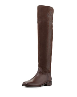 Tory Burch Simone Over-the-Knee Logo Boot, Chocolate