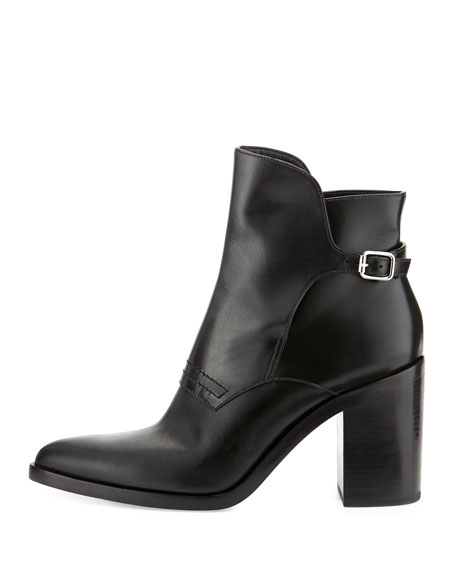 Clarice Leather Pointed-Toe Bootie, Black